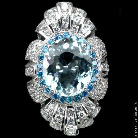 Кольцо аквамарин апатит сапфир р.17,3 серебро 925