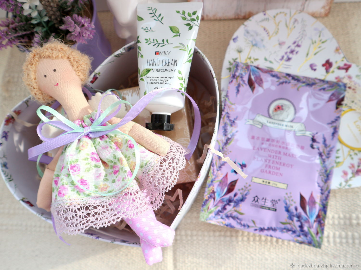 Handmade Lavender Giftbox with Angel, Box with Filling, Gift Boxes, Ekaterinburg,  Фото №1