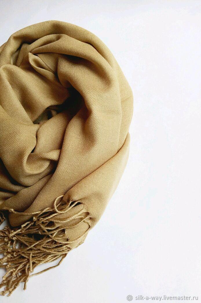 Палантин однотонный бежевый карамельный теплого оттенка, Палантины, Москва,  Фото №1