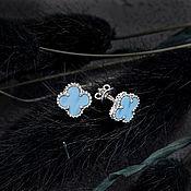 Украшения handmade. Livemaster - original item Stylish gold stud earrings in the form of clover with turquoise. Handmade.