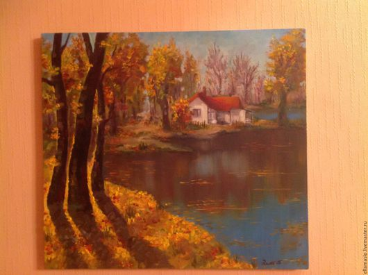 Пейзаж ручной работы. Ярмарка Мастеров - ручная работа. Купить Отдых у озера. Handmade. Желтый, холст, картина в подарок, масло