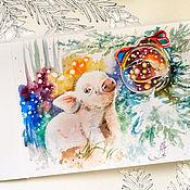 Картины и панно handmade. Livemaster - original item Happy Oink, painting on paper, Christmas gift. Handmade.