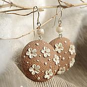 Украшения handmade. Livemaster - original item Round earrings in flower and speckled polymer clay. Handmade.