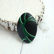 Украшения ручной работы. Ярмарка Мастеров - ручная работа GO GREEN - деревянная расписная брошь черный с зеленым. Handmade.