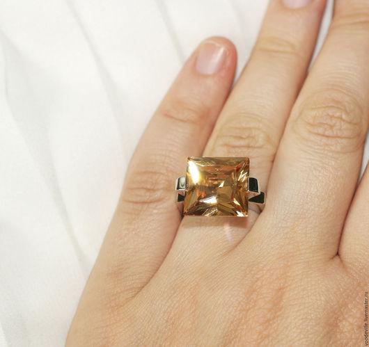 Винтажные украшения. Ярмарка Мастеров - ручная работа. Купить Кольцо крупное квадратное. Handmade. Серый, рыжий камень