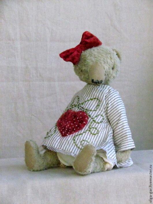 Мишки Тедди ручной работы. Ярмарка Мастеров - ручная работа. Купить Илга, красный бантик. Handmade. Бежевый, мишка в подарок