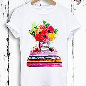 Одежда handmade. Livemaster - original item White cotton t-shirt with perfume print - TEE10178CT. Handmade.