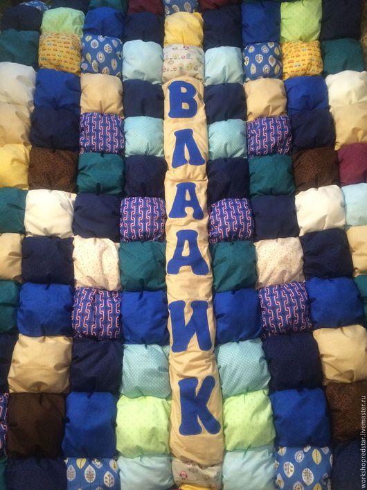 Детская ручной работы. Ярмарка Мастеров - ручная работа. Купить Детское одеяло в технике печворк. Handmade. Синий, одеяло для девочки