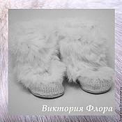 """Обувь ручной работы. Ярмарка Мастеров - ручная работа Вязаные меховые угги """"Белый кролик"""". Handmade."""