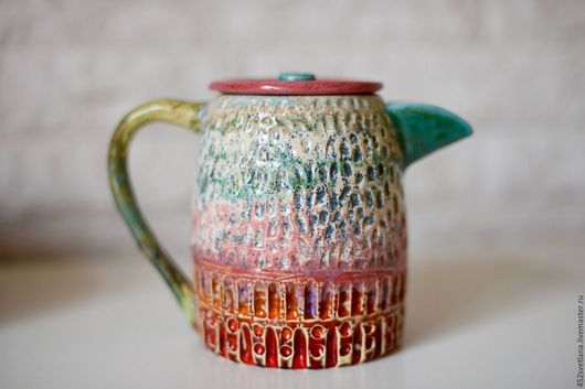 """Чайники, кофейники ручной работы. Ярмарка Мастеров - ручная работа. Купить Чайник """" Разноцветный"""". Handmade. Комбинированный, чайник керамический"""