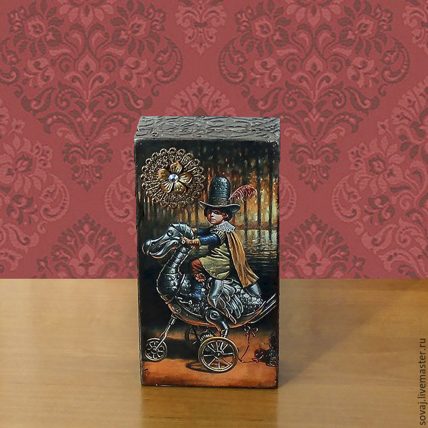 "Шкатулка купюрница "" Маленький наездник "", Box, ,  Фото №1"