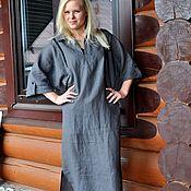 Одежда handmade. Livemaster - original item Linen dress, straight Maxi color graphite. Handmade.