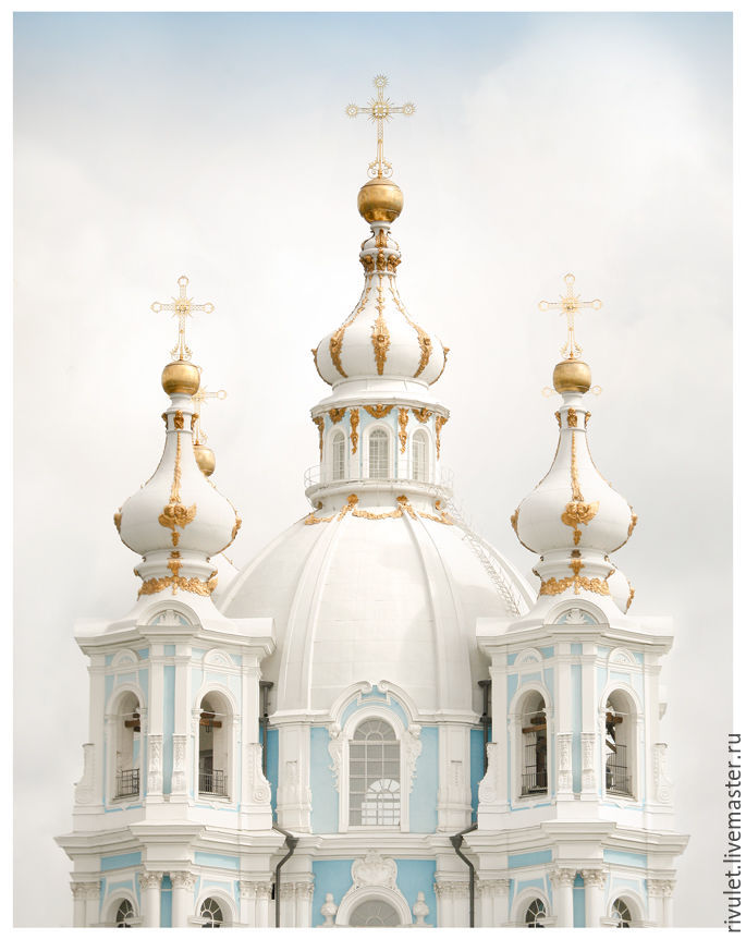 Photo painting for the interior in white and blue pastel colours. The architecture Author's photo to purchase. The domes of the Smolny Cathedral of the resurrection of Christ, Elena Anufrieva