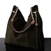 """Классическая сумка ручной работы. Ярмарка Мастеров - ручная работа """"Granville Темно-оливковый"""" Замшевая оливковая зеленая сумка. Handmade."""