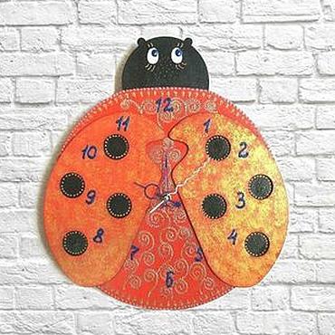 Для дома и интерьера ручной работы. Ярмарка Мастеров - ручная работа Часы настенные Божья коровка, детские. Handmade.