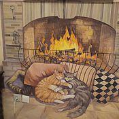 Дизайн и реклама ручной работы. Ярмарка Мастеров - ручная работа Роспись на кухне Коты у камина. Handmade.