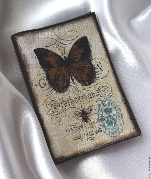 """Обложки ручной работы. Ярмарка Мастеров - ручная работа. Купить Обложка для паспорта """"Бабочка шоколадница""""( декупаж кожа винтаж ). Handmade."""