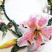Украшения handmade. Livemaster - original item Tenderness of lilies. Necklace made of Japanese beads with Swarovski elements.. Handmade.