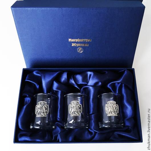 """Подарки для мужчин, ручной работы. Ярмарка Мастеров - ручная работа. Купить Набор стопок на троих """"Георгиевский (с крестом)"""" (3 стопки в коробке). Handmade."""