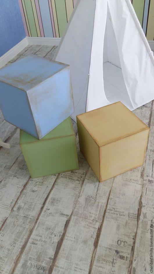 Мебель ручной работы. Ярмарка Мастеров - ручная работа. Купить Деревянный куб для интерьера. Handmade. Голубой, декоратор, реквизит для фотосессии