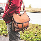Сумки и аксессуары handmade. Livemaster - original item Leather and canvas messenger bag. Handmade.