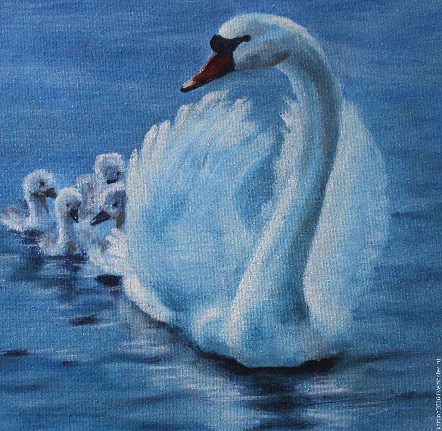 К�пи�� Лебед� изоб�ажение лебедя вода ка��ина ма�лом