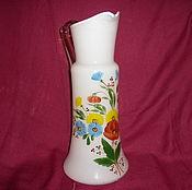 Винтаж handmade. Livemaster - original item Jug, decanter. Colored milk glass, hand painted!. Handmade.