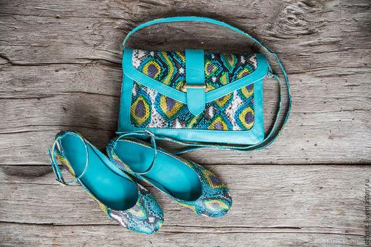 Обувь ручной работы. Ярмарка Мастеров - ручная работа. Купить Балетки из натуральной кожи питона . Балетки из питона. Handmade. Разноцветный