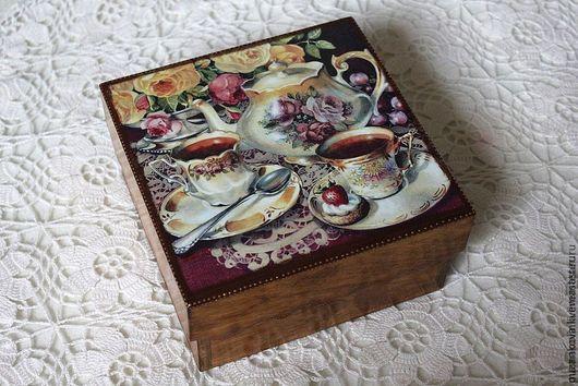 """Кухня ручной работы. Ярмарка Мастеров - ручная работа. Купить Чайная шкатулка """"Время чая"""". Handmade. Бордовый, чайная коробка"""