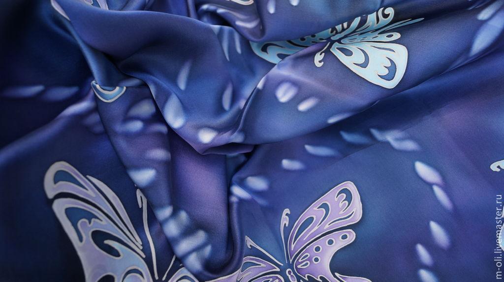 "Платок шелковый батик ""Бабочки"", Платки, Санкт-Петербург,  Фото №1"