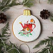 Сувениры и подарки handmade. Livemaster - original item Gift gingerbread Christmas ball (Robins). Handmade.