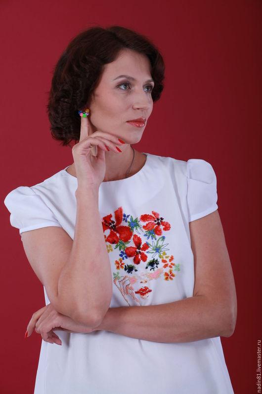 Платья ручной работы. Ярмарка Мастеров - ручная работа. Купить Платье вышито бисером. Handmade. Белый, Вышивка бисером, платье