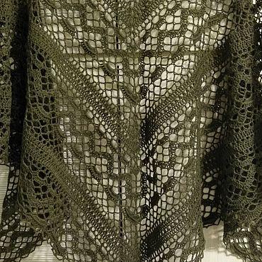Accessories handmade. Livemaster - original item Long scarf shawl knitted crochet cashmere Merino silk Oliva. Handmade.