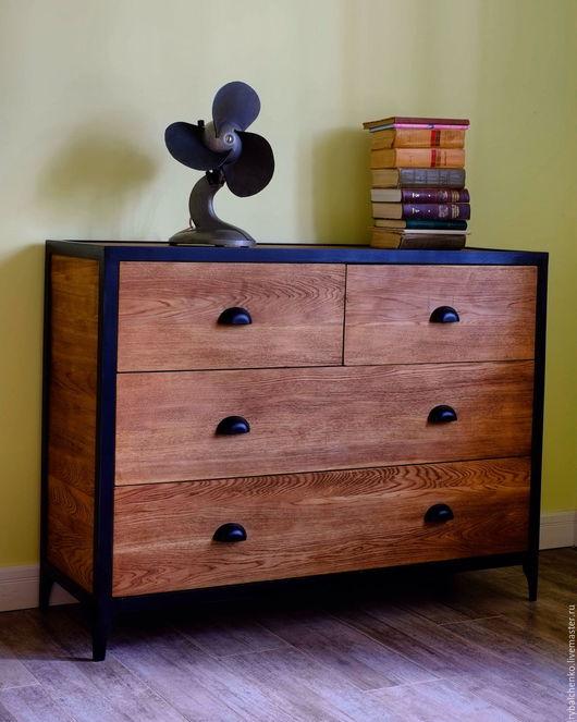 Мебель ручной работы. Ярмарка Мастеров - ручная работа. Купить Дубовый комод лофт, индастриал. Handmade. Коричневый, мебель из дерева