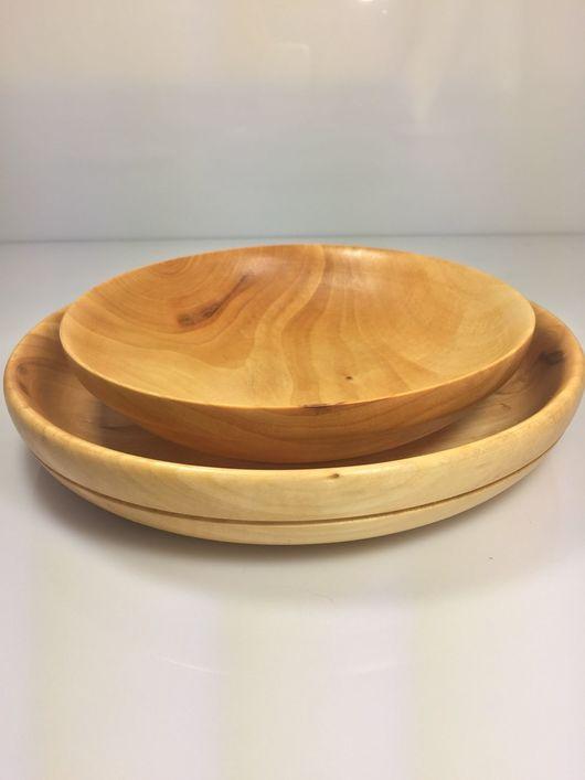 Тарелки ручной работы. Ярмарка Мастеров - ручная работа. Купить Набор деревянных тарелок из липы (2 шт). Handmade. дерево