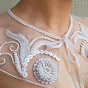 Воротнички ручной работы. Ярмарка Мастеров - ручная работа Воротник накладной белый люневильская вышивка 50 долларов. Handmade.