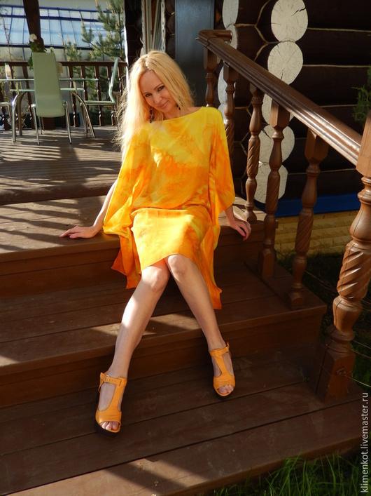 Платья ручной работы. Ярмарка Мастеров - ручная работа. Купить платье-туника  Игра солнца-1. Handmade. Желтый, лето