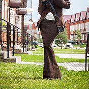 Одежда ручной работы. Ярмарка Мастеров - ручная работа V_022 Юбка-годе-лайт длинная со шнуровкой сзади, цвет махагон-серебро. Handmade.