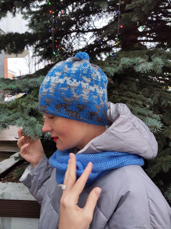 Blue hat and Snood set winter 202, Caps, Petrozavodsk,  Фото №1
