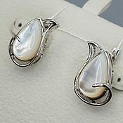 Украшения handmade. Livemaster - original item Silver earrings with mother of pearl 17h10 mm. Handmade.