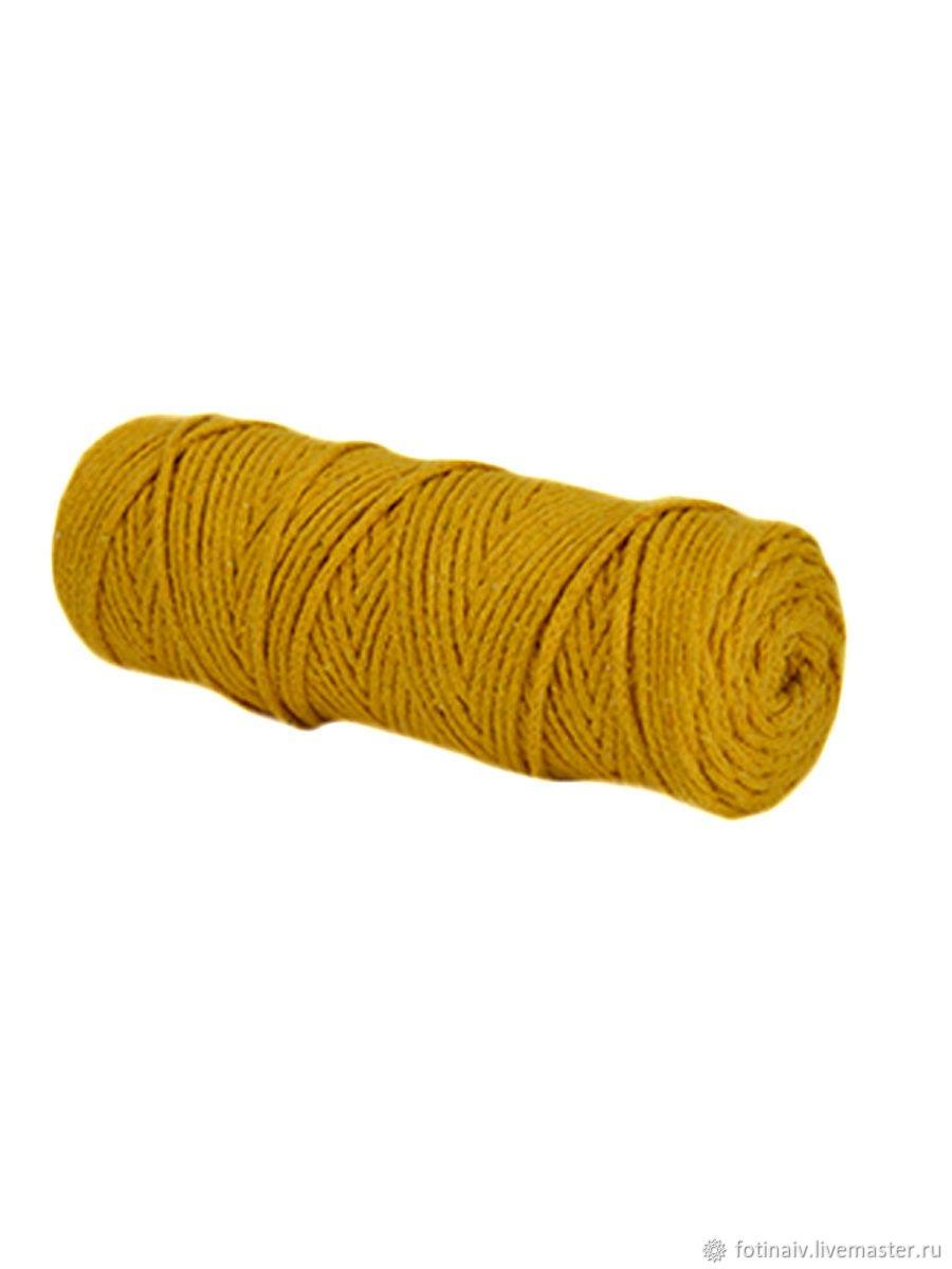 Cotton cord 3mm. .100m. Mustard, Yarn, Petrozavodsk,  Фото №1
