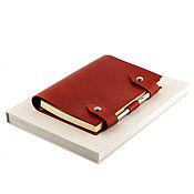 Канцелярские товары handmade. Livemaster - original item Leather notebook on rings with magnetic buttons. Handmade.