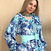 Одежда handmade. Livemaster - original item Summer dress made of cotton with pockets, belt and drawstring at the neckline.. Handmade.