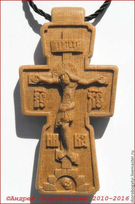 Кулоны, подвески ручной работы. Ярмарка Мастеров - ручная работа. Купить Крест нательный. Handmade. Оранжевый, нательный крест