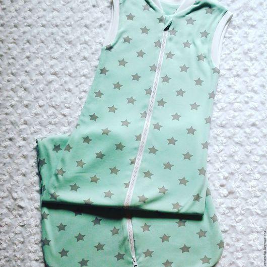 Для новорожденных, ручной работы. Ярмарка Мастеров - ручная работа. Купить Спальный мешок ''Звезды''. Handmade. Мятный, однотонный