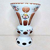 Винтаж handmade. Livemaster - original item Vase Bohemia double-layer glass 40-50 gg painted caramel. Handmade.