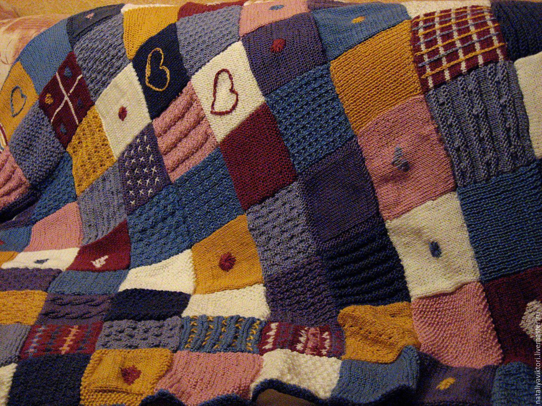 Вязание на спицах пледа в стиле пэчворк