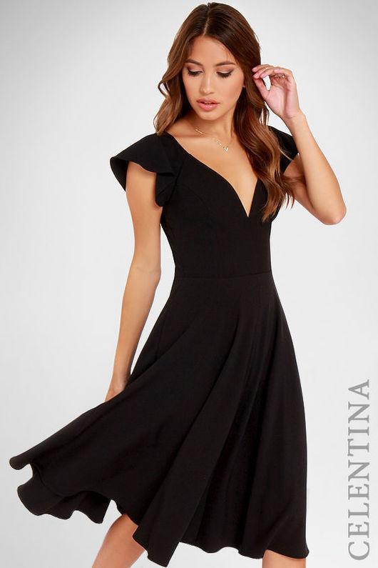 короткое вечернее платье, черное платье, модное платье, короткое платье, теплое платье, платье на выход, нарядное платье, новинка, романтичное платье, платье с оборкой, белое платье, 20 расцветок!