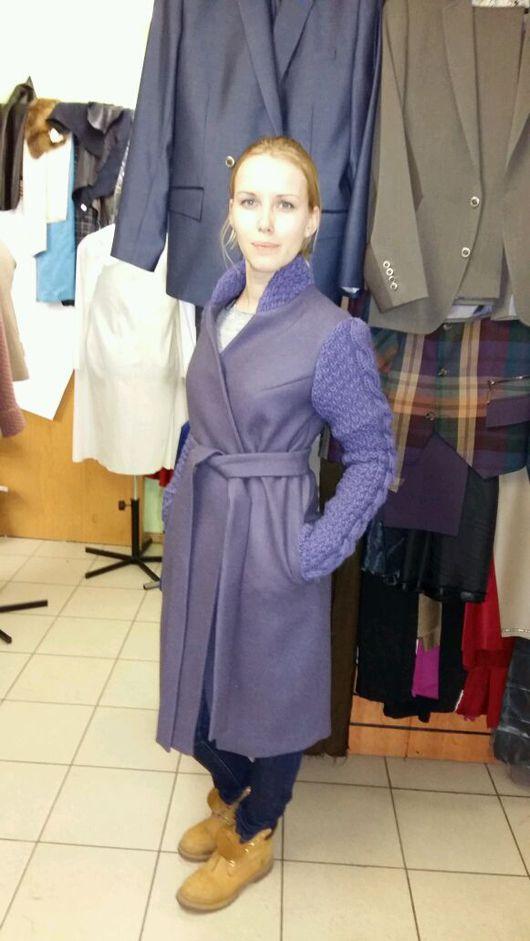 Верхняя одежда ручной работы. Ярмарка Мастеров - ручная работа. Купить Пальто женское из кашемира с деталями ручной вязки. Handmade.
