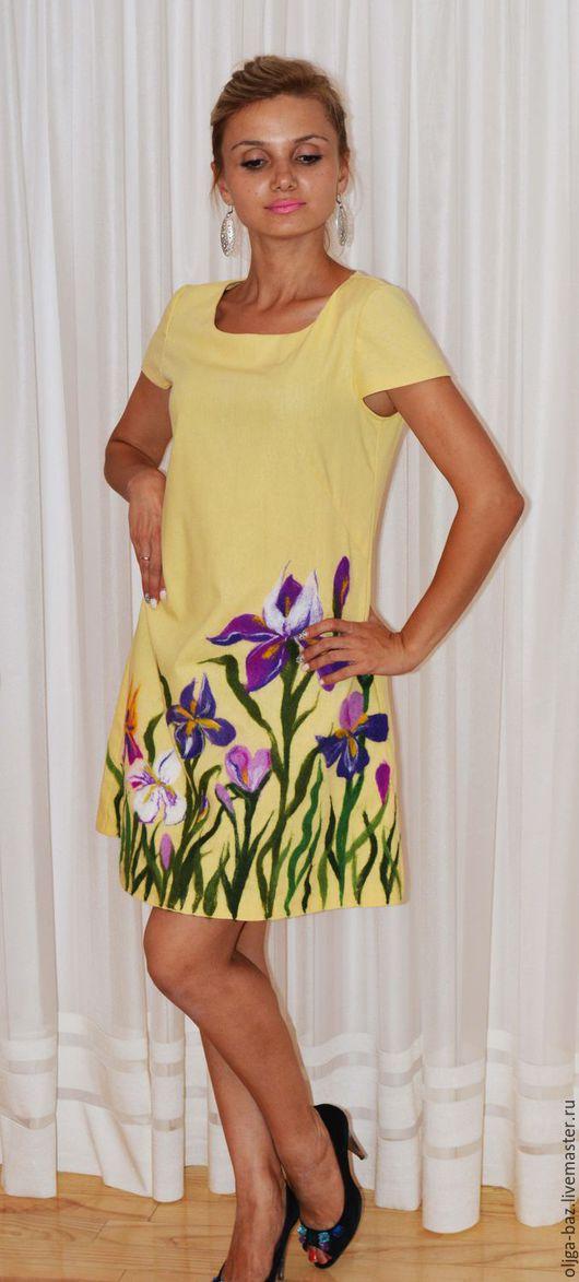 Платье из льна ` Солнечный ирис`
